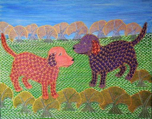 Annemarie HOFFMANN - Painting - Junge Baumhunde    (Cat N° 6407)