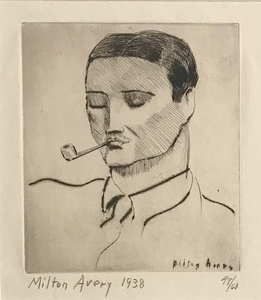 Milton Clark AVERY - Print-Multiple - Man with Pipe, Portrait of Vincent Spagna the Artist