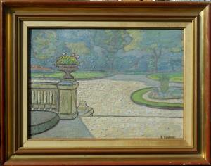 Alfred LESBROS - Pintura - Terrasse du square