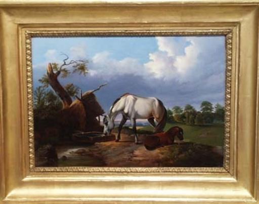"Johann Baptist II DALLINGER VON DALLING - Painting - ""Grazing Horses"" by Johann Dallinger von Dalling, ca 1840"