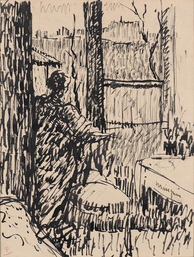 Henri MANGUIN - Zeichnung Aquarell - Jeanne à la fenêtre, rue Boursault