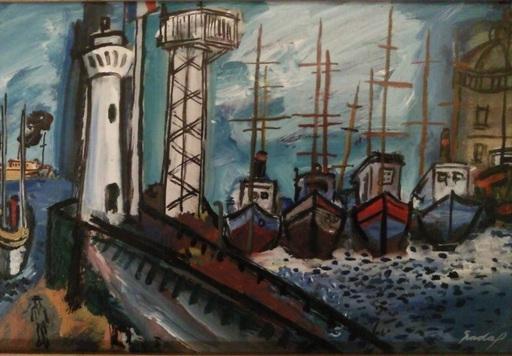Carlos NADAL - Painting - Faro y Barcos - La Estacada