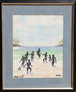 James Amos PORTER - Dibujo Acuarela - Haiti Beach
