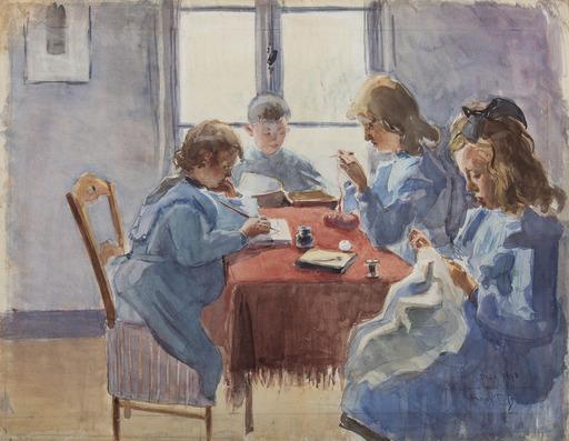Raoul DUFY - Zeichnung Aquarell - Frères et sœurs du peintre