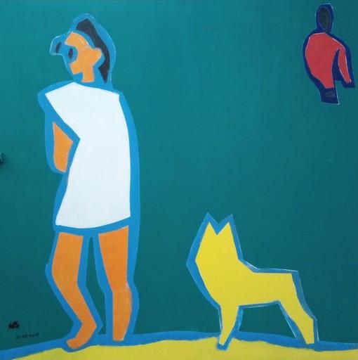 Harry BARTLETT FENNEY - Pittura - chien jaune sur la plage