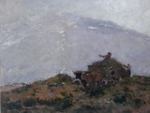 Fernand MAILLAUD - Painting - Charette de foin sur la colline