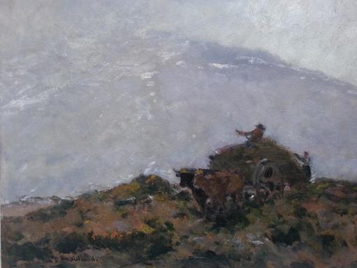 Fernand MAILLAUD - Pintura - Charette de foin sur la colline
