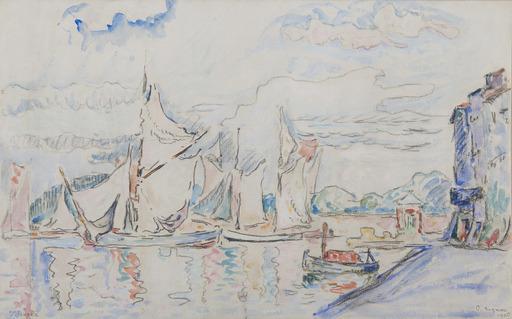 Paul SIGNAC - Drawing-Watercolor - Voiliers à Saint-Tropez