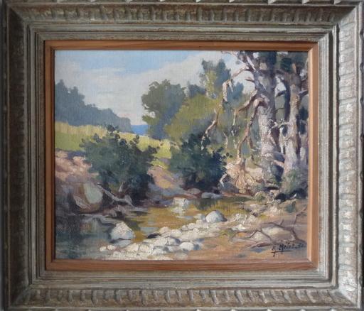 Edmond Amédée MELOT - Painting - poncey sources de l ignon cote d or 1950