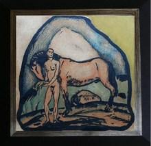 Béla KADAR - Dibujo Acuarela - Adam & the horse