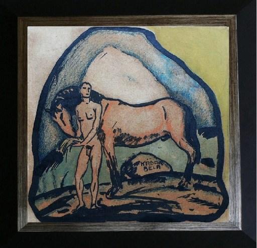 Béla KADAR - Drawing-Watercolor - Adam & the horse