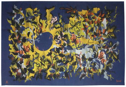 Elie GREKOFF - Tapestry - Paysage bleu aux papillons
