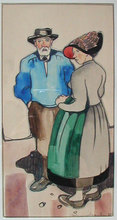 Albert NEUENSCHWANDER - Pintura - Peasant Couple in Traditional Costume