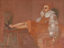 Elena KALLISTOVA - Painting - Sleeping on two Chairs