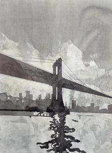 Jorge CASTILLO - Drawing-Watercolor - El puente,New York