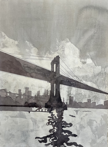 Jorge CASTILLO - Disegno Acquarello - El puente,New York