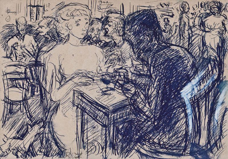 Robert LIEBKNECHT - Drawing-Watercolor - Im Bistro
