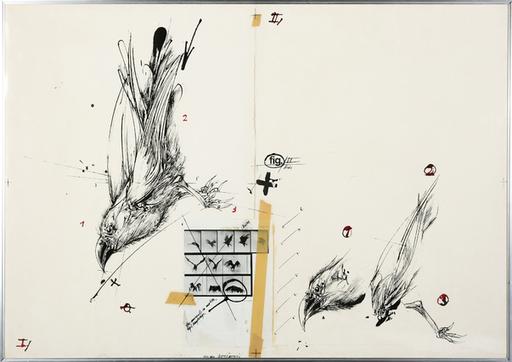 Vladimir VELICKOVIC - Dessin-Aquarelle - Birds fig. VI