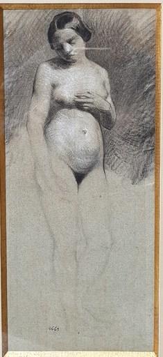 Félix ZIEM - Zeichnung Aquarell - Etude de nu