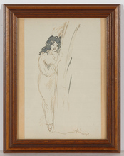 "Emil ORLIK - Dibujo Acuarela - ""Study of a young woman"" drawing, 1910s"