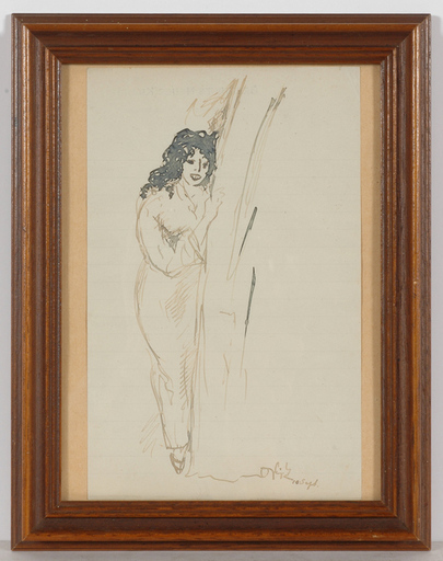 "Emil ORLIK - Zeichnung Aquarell - ""Study of a young woman"" drawing, 1910s"