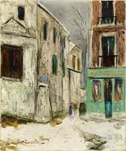 莫里斯•郁特里罗 - 绘画 - Belle Gabrielle et la rue Saint-Vincent, Montmartre