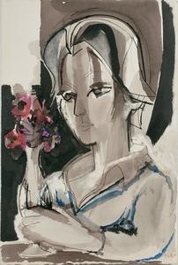 Françoise GILOT - Painting - Jeune fille pensive