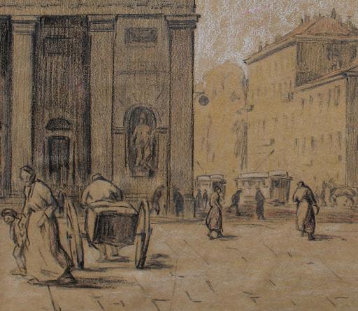 Aldo CONTI - Drawing-Watercolor - Piazzale Venezia