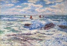 Henry MORET - Pintura - Gros temps à Doëlan, Bretagne