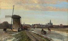 Johan-Barthold JONGKIND - Pintura - Vue de Maasluis en hiver