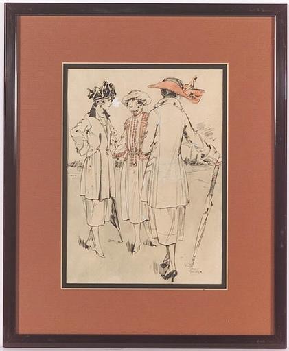 "Gret KALOUS-SCHEFFER - Dibujo Acuarela - ""Fashion Illustration"", ca.1920"