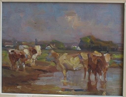 Gustav MALLY - Painting - Pri napajádle