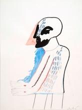 Horst ANTES - Dibujo Acuarela - Zu Agamemnon(Halbfigur mit 2 Wunden)