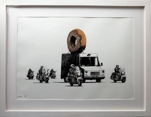 BANKSY - Grabado - Donuts Chocolate signed