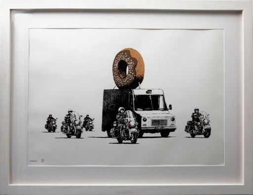 BANKSY - Estampe-Multiple - Donuts Chocolate signed