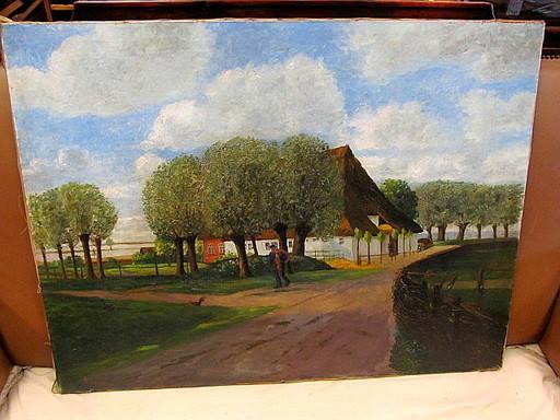Heinrich STEINHAGEN - Pintura - Reetgedecktes Bauernhaus an der Elbe