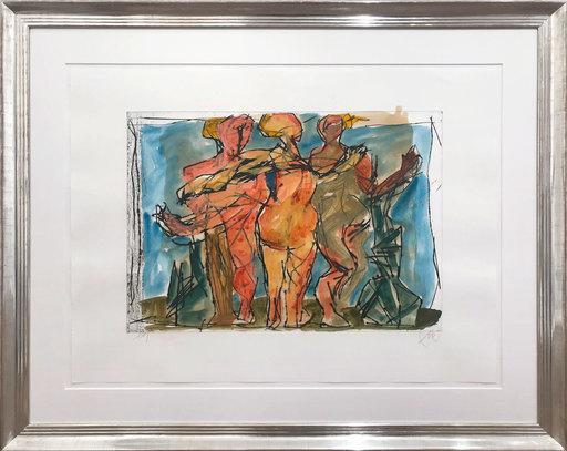 Markus LÜPERTZ - Dibujo Acuarela - Drei Grazien