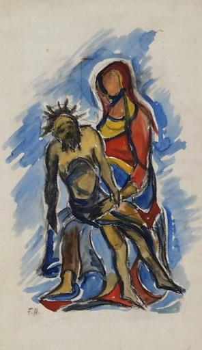 "Franz HECKENDORF - Zeichnung Aquarell - ""Pieta"" by Franz Heckendorf, Watercolor, ca 1930"