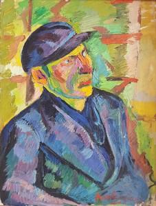 Pierre AMBROGIANI - Pintura - Autoportrait en facteur