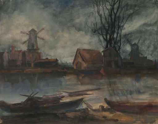 Johan-Barthold JONGKIND - Drawing-Watercolor - Landscape in Holland,1897