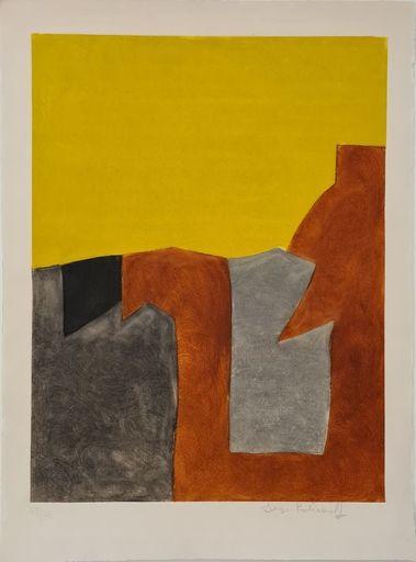 Serge POLIAKOFF - Estampe-Multiple - Composition grise brune et jaune IX