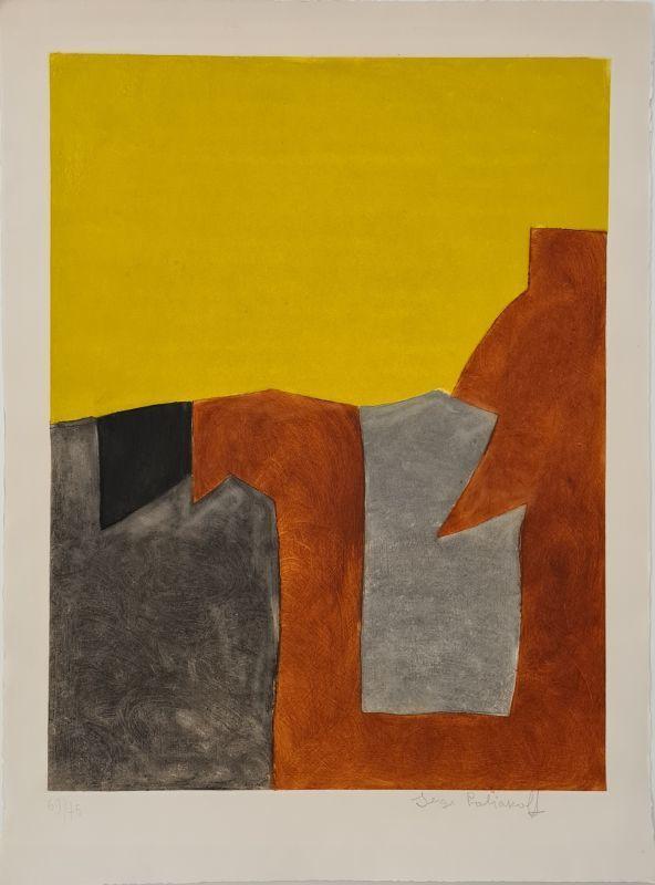Serge POLIAKOFF - Print-Multiple - Composition grise brune et jaune IX