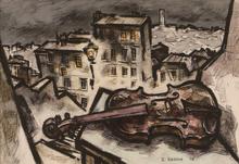 Oskar RABIN - Dibujo Acuarela - Violin in the City