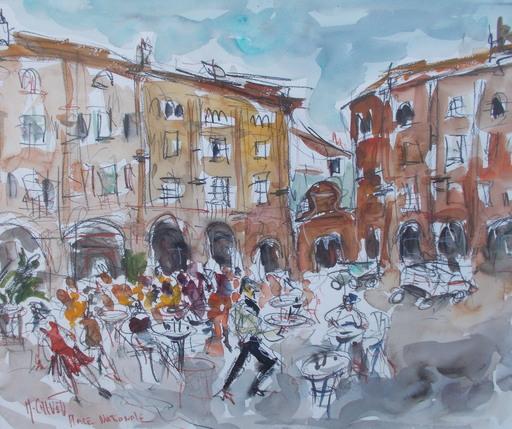 Michel CALVET - Dibujo Acuarela - Place nationnale Montauban