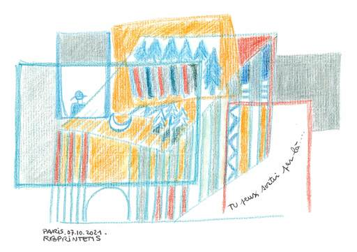 "Reine BUD-PRINTEMS - Zeichnung Aquarell - ""Tu peux sortir par là..."""