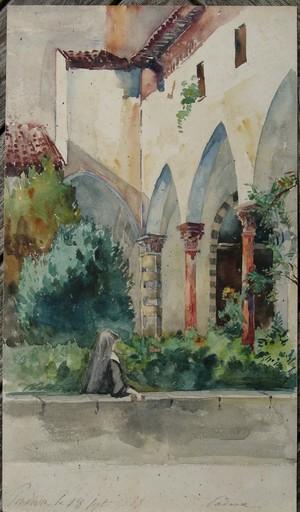 Jehanne MAZELINE - Drawing-Watercolor - PADOUE : LE CLOITRE DE L'EGLISE