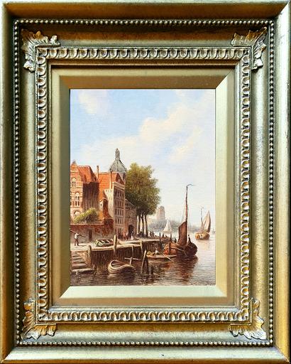 Jan Jacob SPOHLER - Peinture - A Dutch Quayside and An Amsterdam Street (Pair)