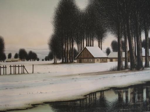ジャック・デペルト - 版画 - Le hameau sous la neige,1985.