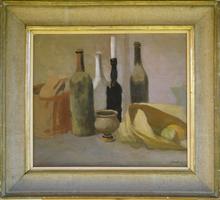 Angelo Maria LANDI - Pittura - Natura morta con bottiglie