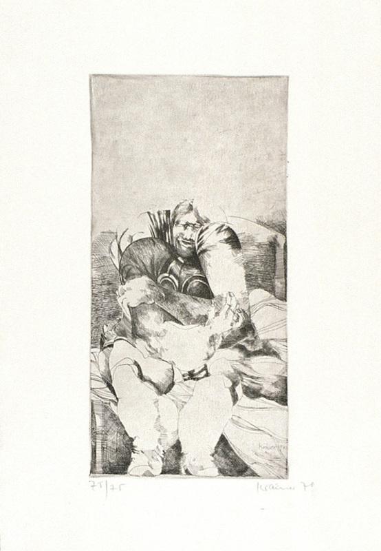 Dieter KRAEMER - Grabado - Mann im Sessel